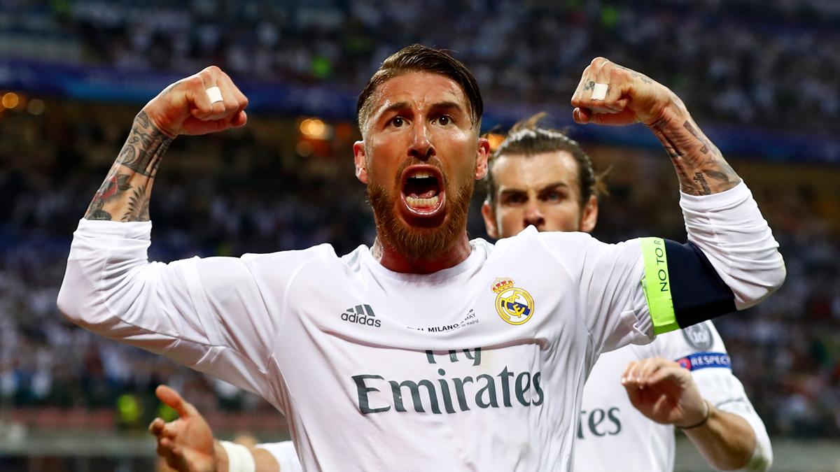 Sergio Ramos, celebrando el gol de la final de Champions