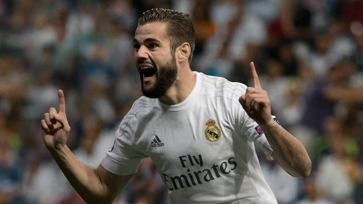 Nacho, celebrando un gol con el Real Madrid.