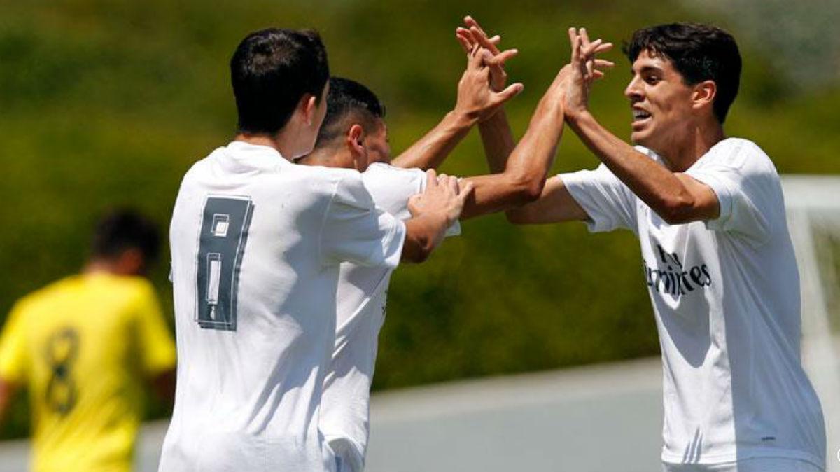 Óscar celebra el gol ante el Villarreal. (Realmadrid.com)