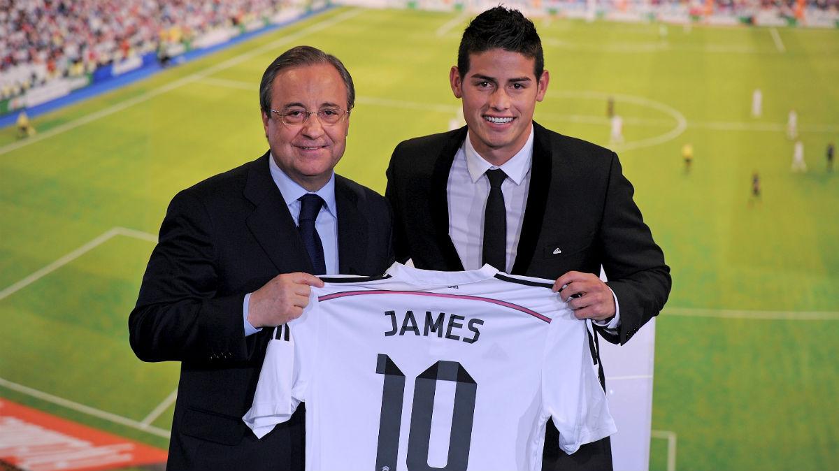 James Rodríguez, presentado en el palco de honor del Santiago Bernabéu. (Getty)