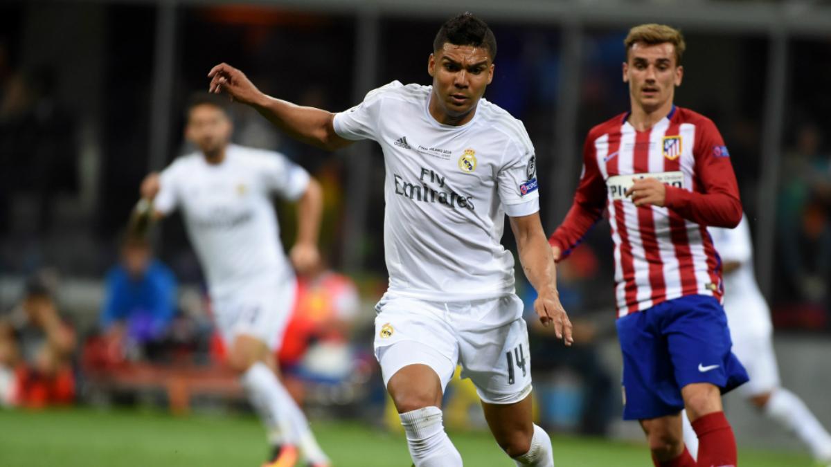 Casemiro, en un partido con el Real Madrid. (Getty)