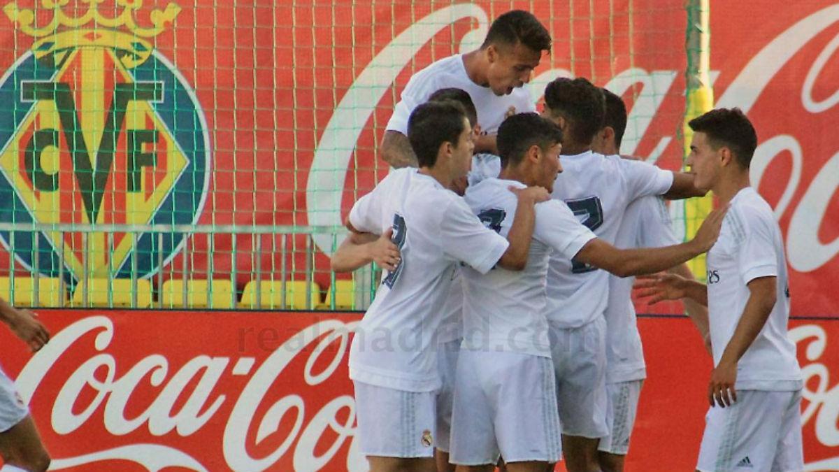 El Juvenil A celebra uno de los goles al Villarreal. (Realmadrid.com)