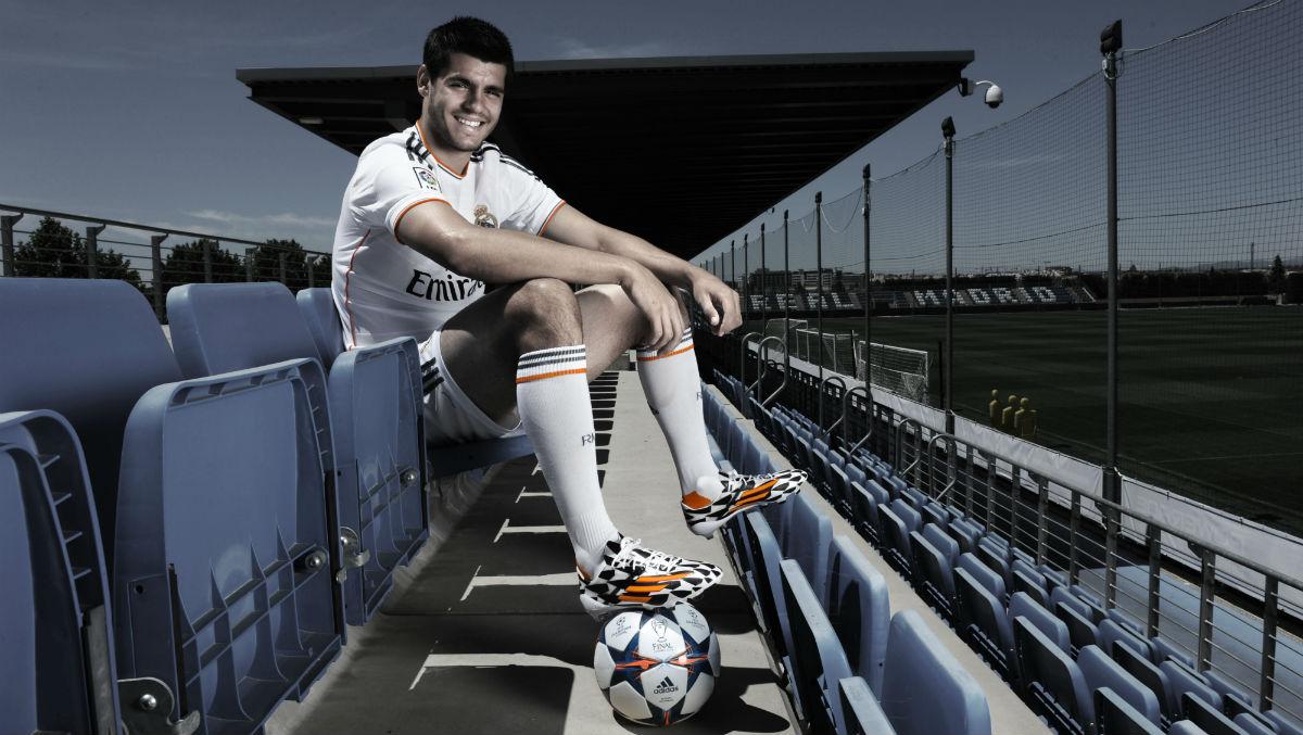 Morata, con la camiseta del Real Madrid. (Getty)