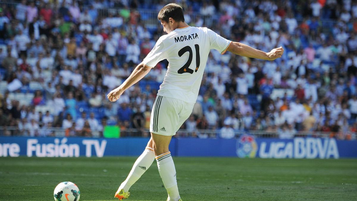 Morata durante un partido con el Real Madrid