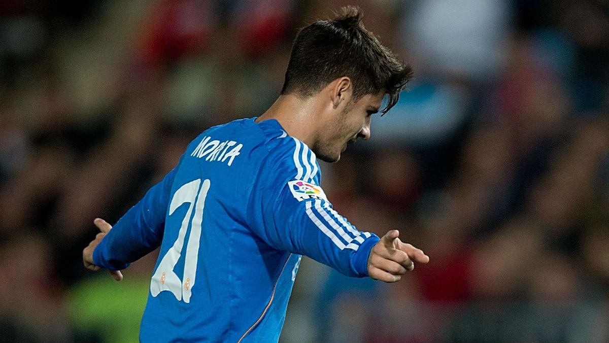 Morata celebra un gol con el Real Madrid. (Getty)