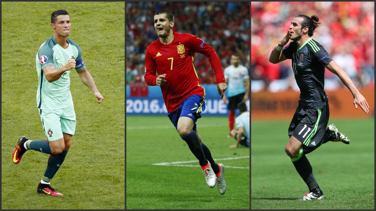 Los tres delanteros del Real Madrid: Cristiano, Morata y Bale.