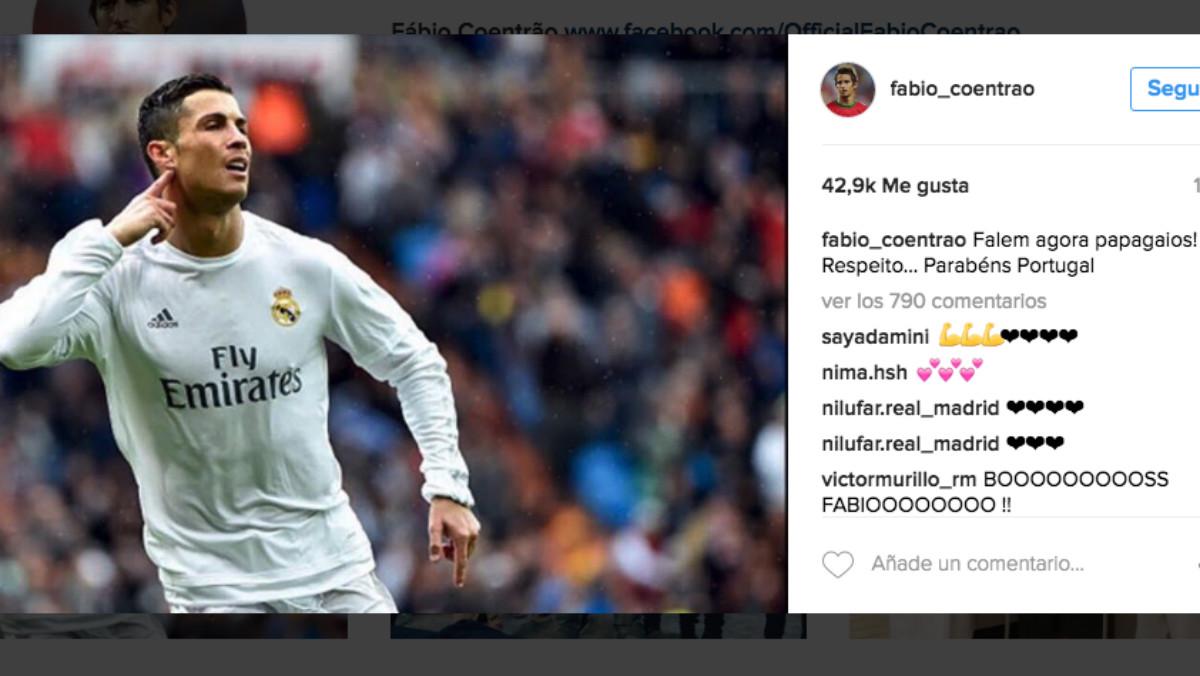 Coentrao ha defendido a Cristiano en Instagram.