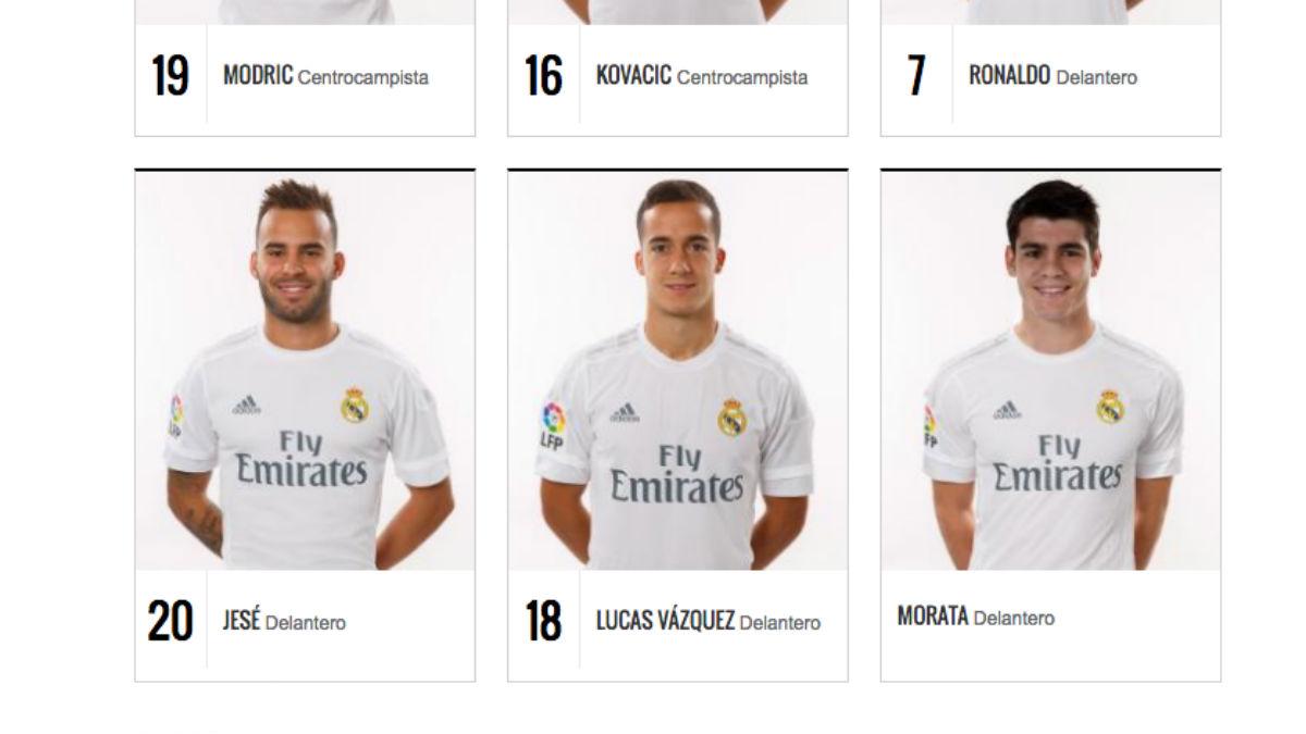 Morata ya luce en la web del Real Madrid.