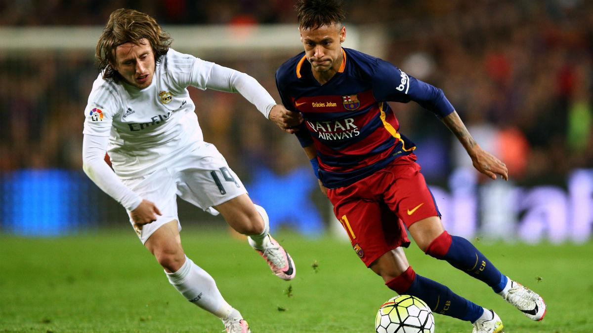 Neymar, en un partido contra el Real Madrid. (Getty)