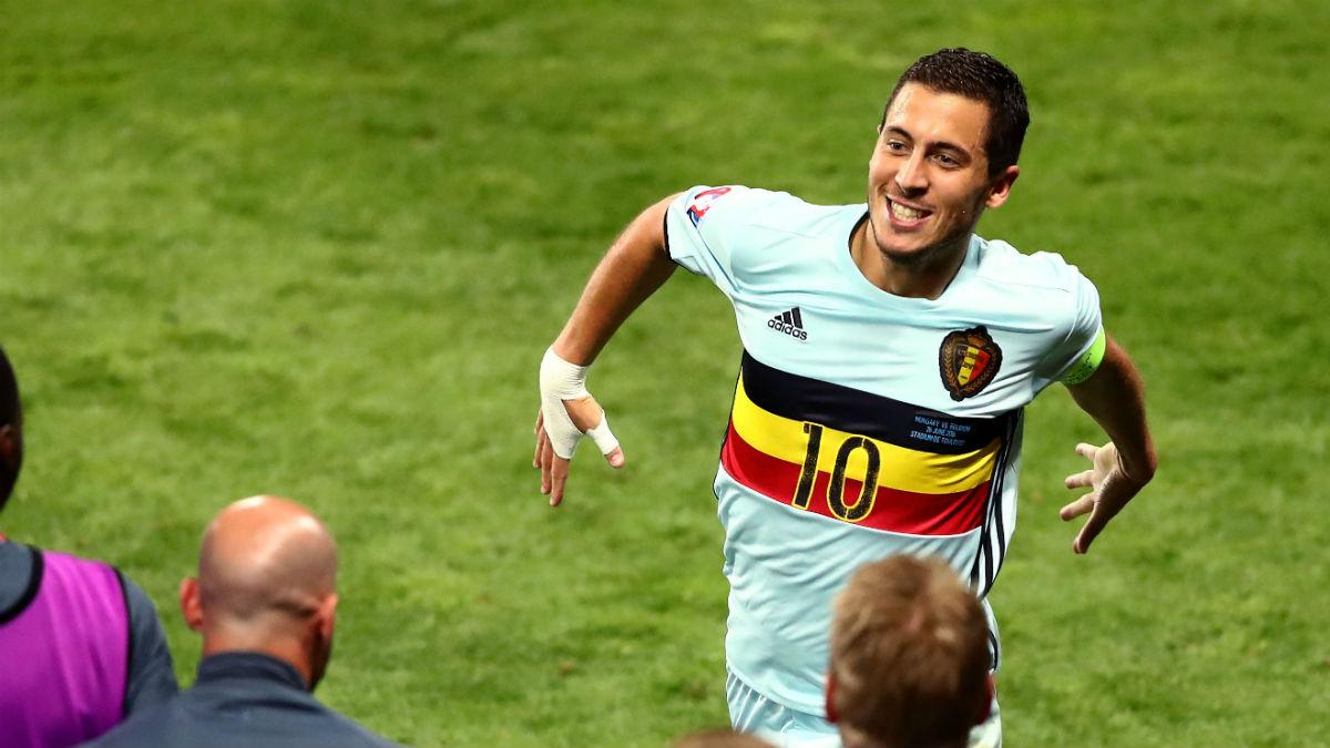 Hazard celebra su gol a Hungría. (Getty)