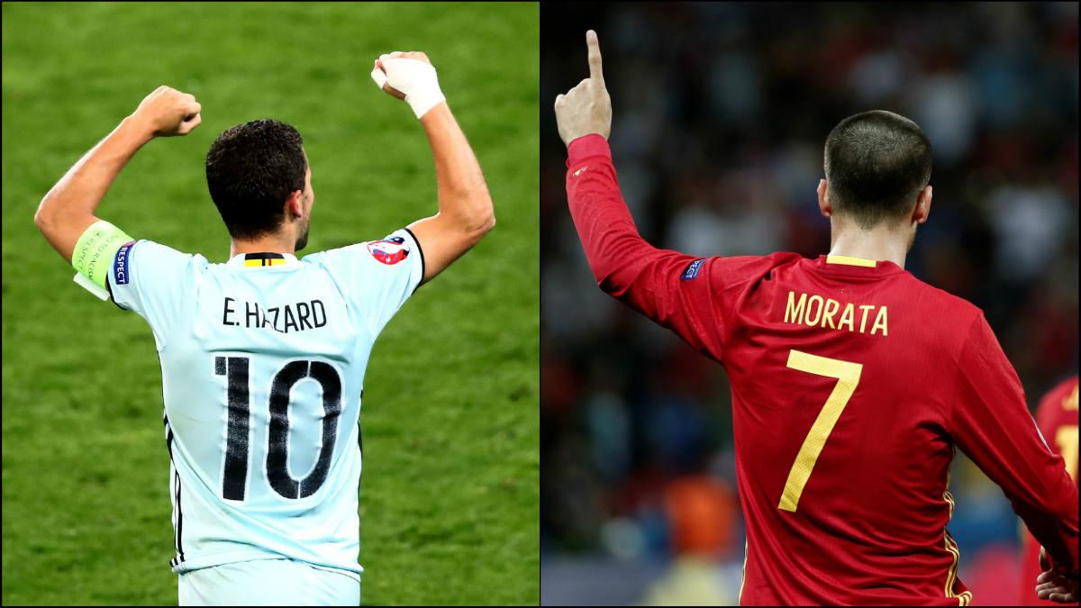 Hazard y Morata celebran con Bélgica y España.