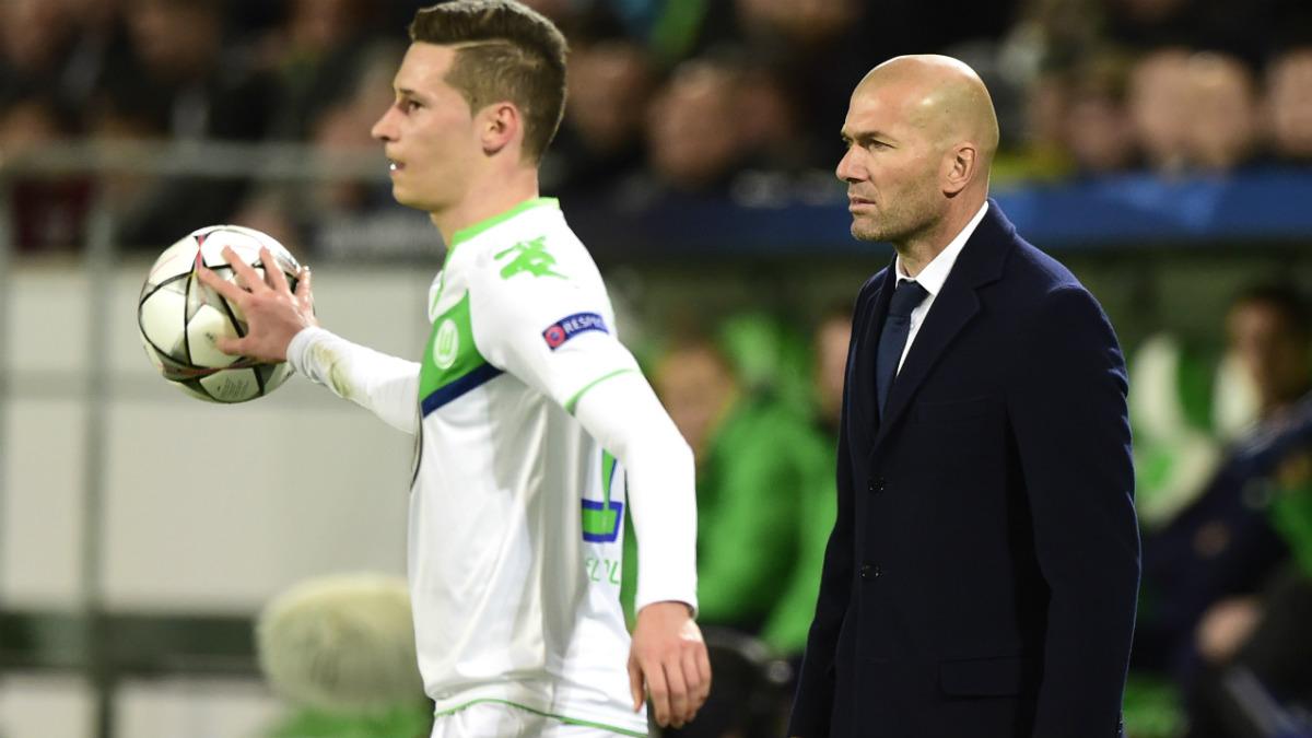 Draxler junto a Zidane en el Wolfsburgo-Real Madrid de la Champions. (Getty)