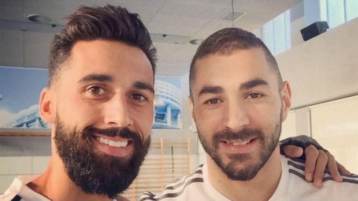 Arbeloa y Benzema en el Real Madrid. (Twitter de Arbeloa)
