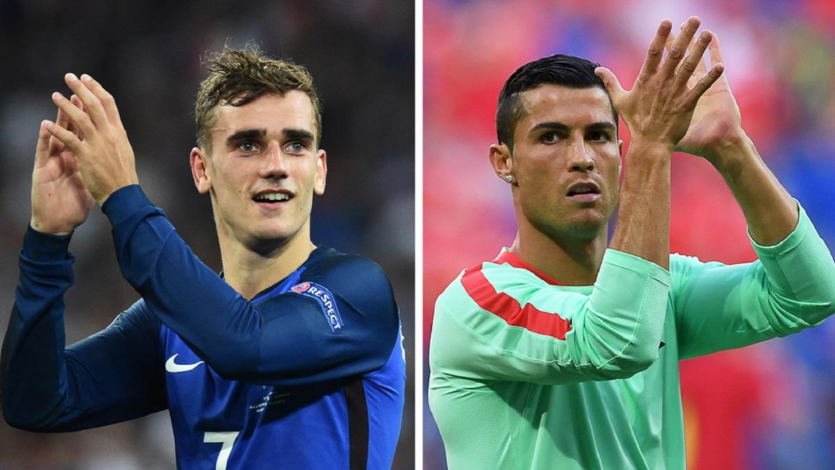 Griezmann y Cristiano Ronaldo, los líderes de Francia y Portugal.