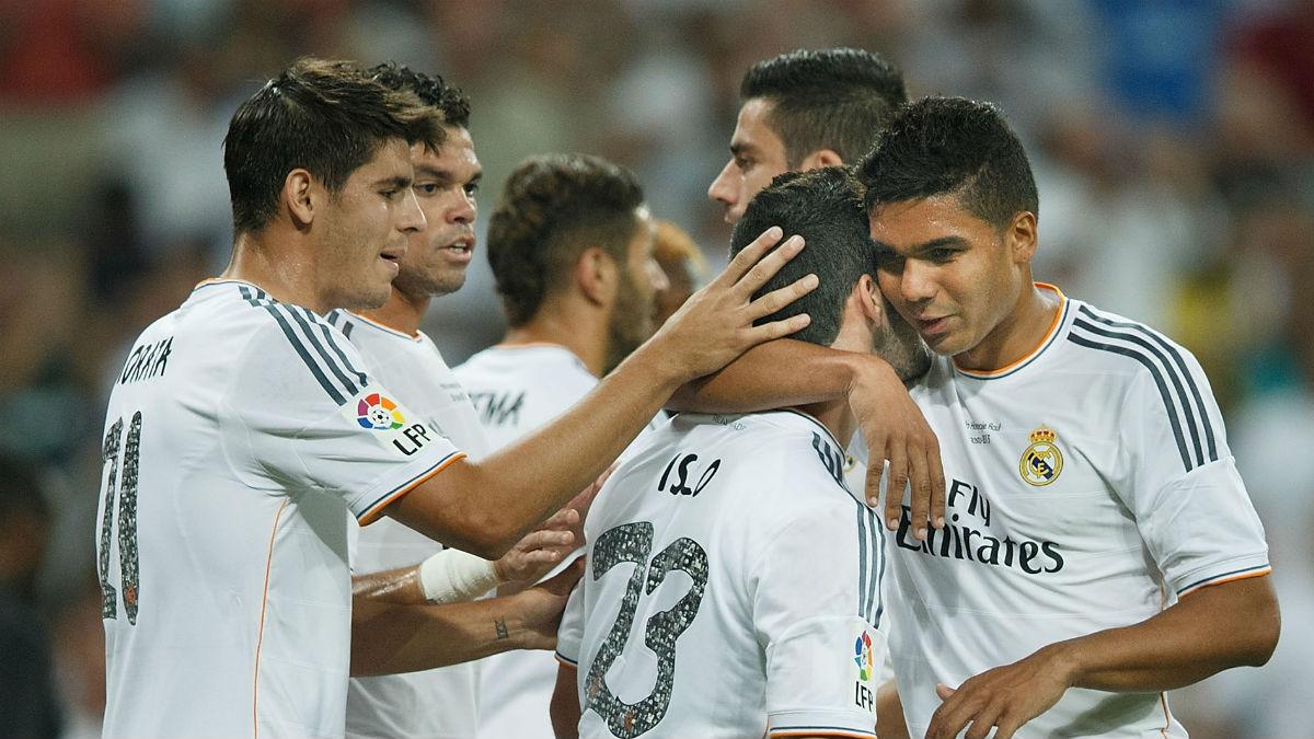 Morata y Casemiro celebran un gol con el Real Madrid. (Getty)