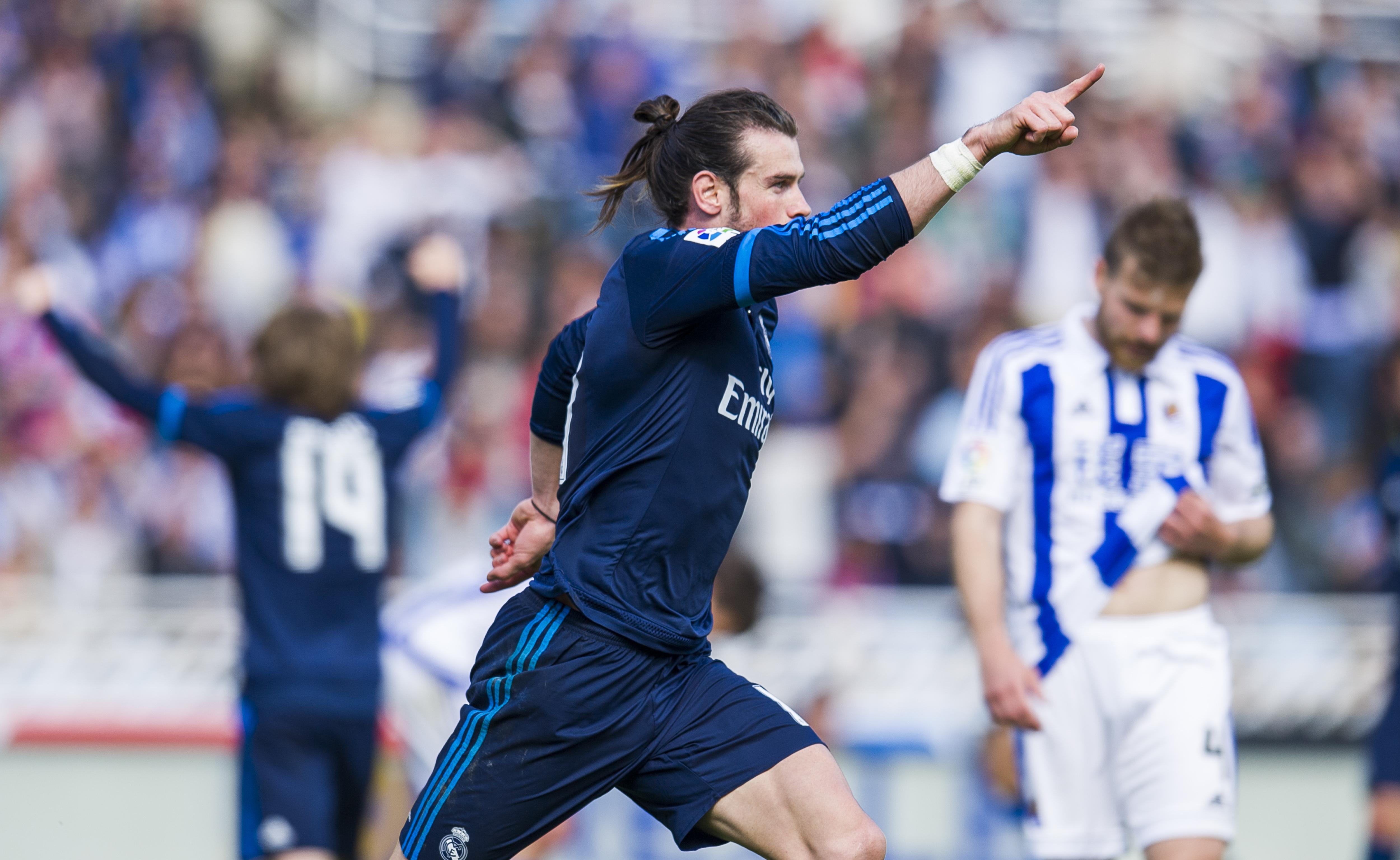 Bale celebra un gol a la Real Sociedad. (Getty)