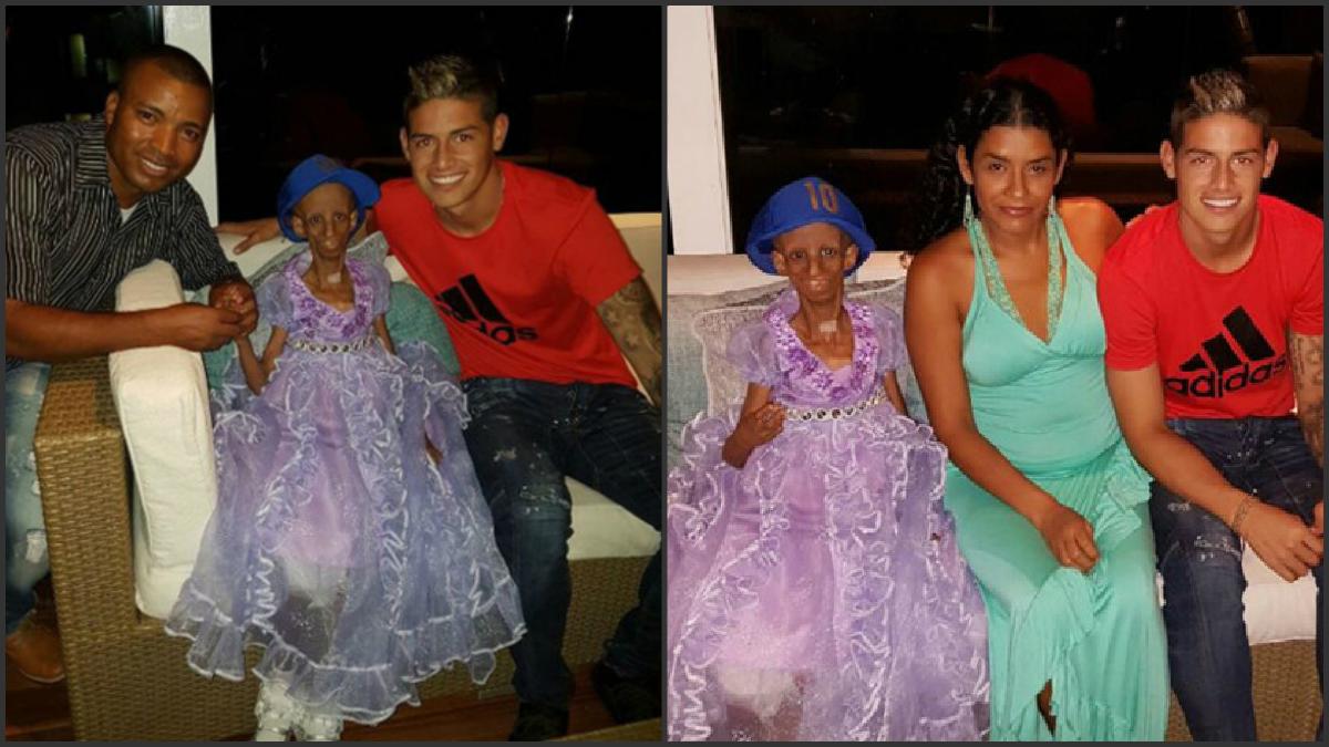 James Rodríguez, junto a la pequeña Magari y su familia.