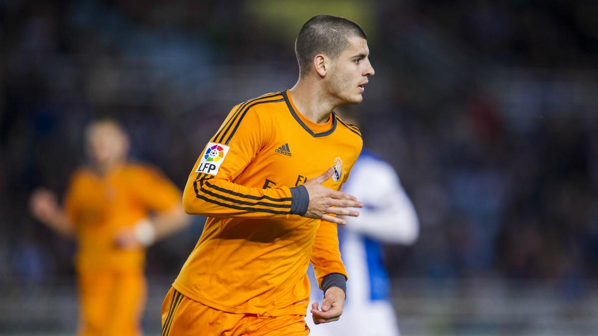 Álvaro Morata celebra un gol con el Real Madrid. (Getty)
