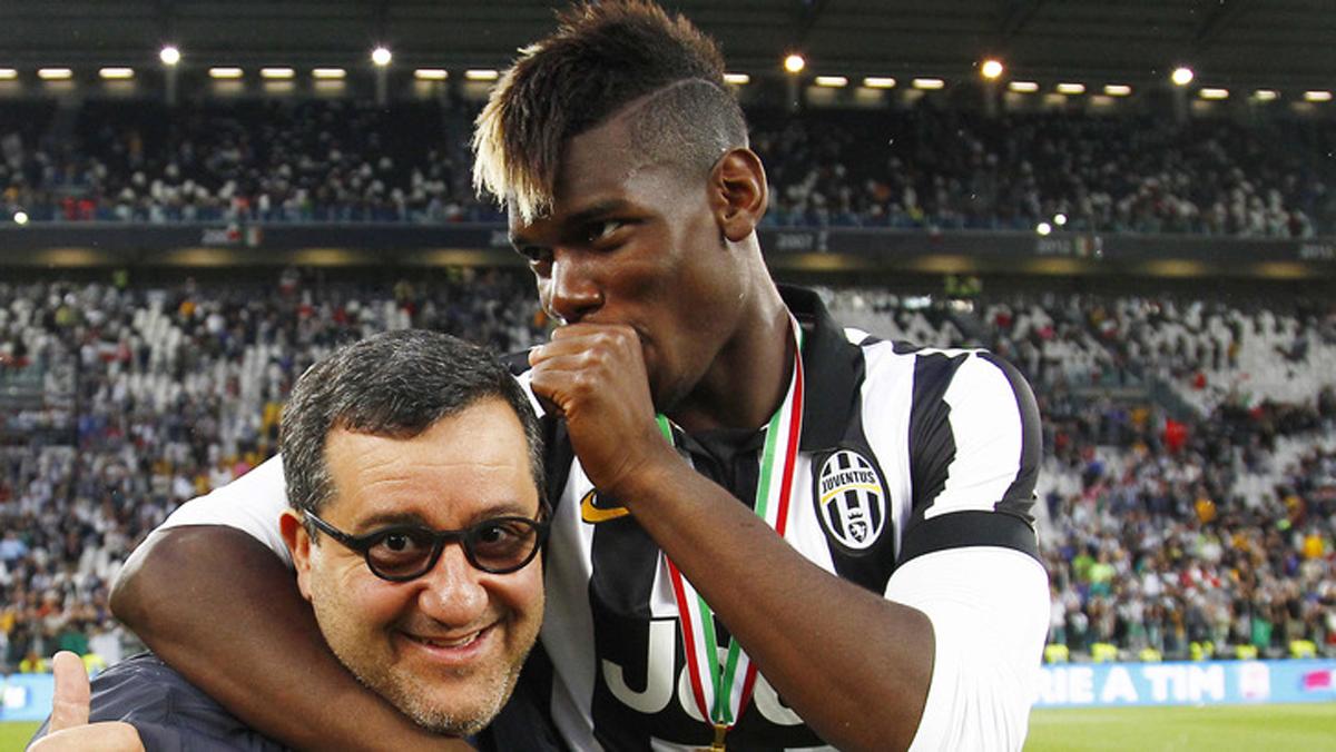 Pogba y Raiola, celebrando un título de la Juventus.