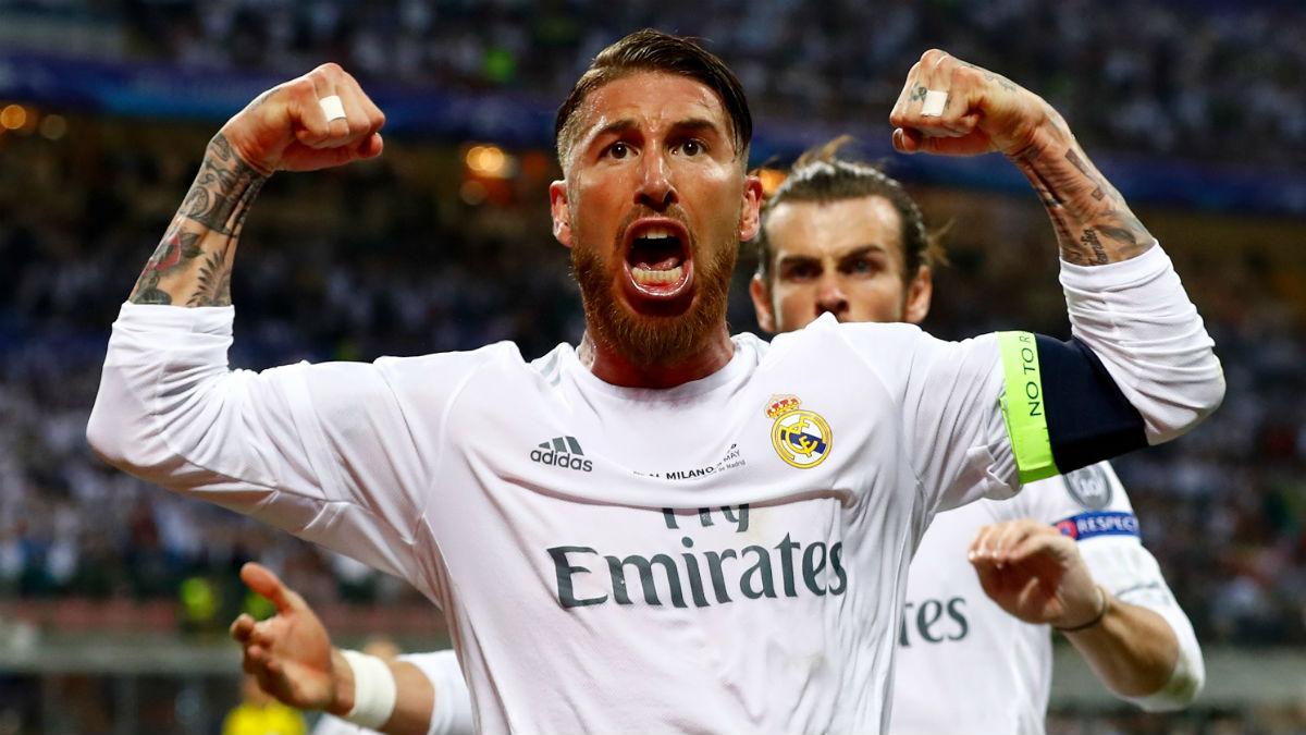 Sergio Ramos celebra su gol en la final de la Champions. (Getty)