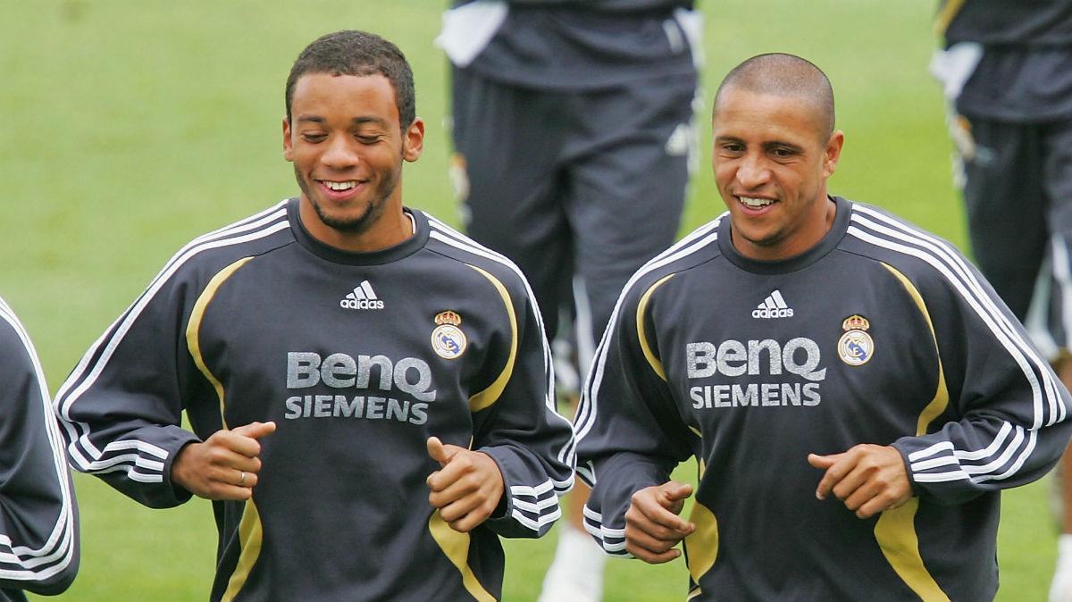 Roberto Carlos y Marcelo entrenando con el Real Madrid. (Getty)