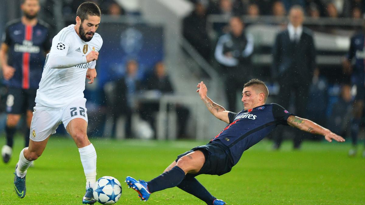 Isco y Verratti durante un Real Madrid vs PSG. (AFP)