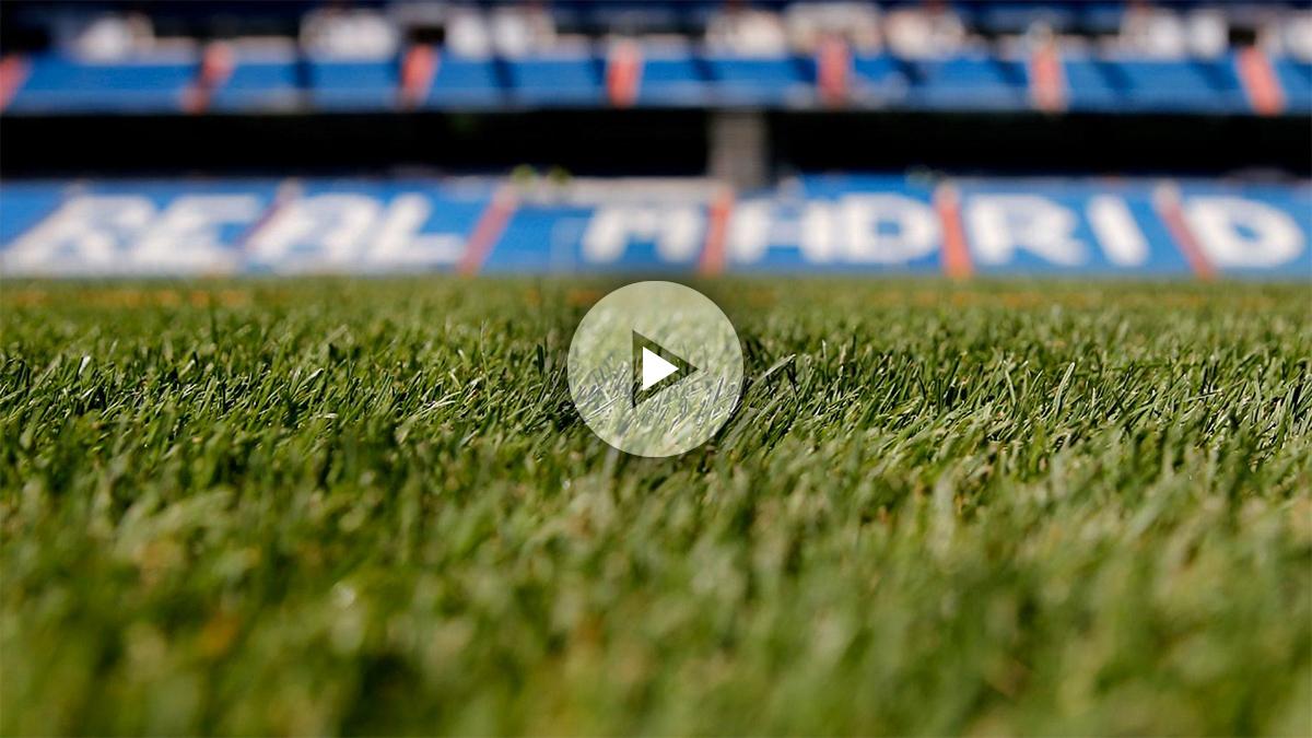 El Santiago Bernabéu cambia su césped. (Realmadrid.com)