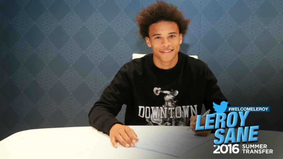Leroy Sané tras firmar con el City. (mancity.com)