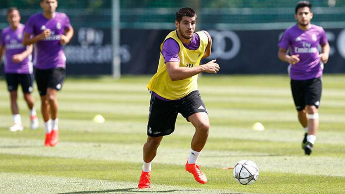 Álvaro Morata durante un entrenamiento. (Realmadrid.com)