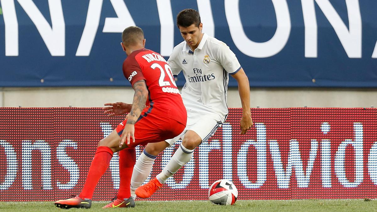 Morata, en una acción del partido amistoso entre el Real Madrid y el PSG.