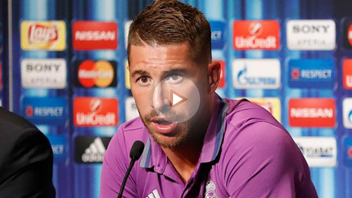 Ramos durante la rueda de prensa previa al duelo ante el Sevilla en la Supercopa de Europa. (realmadrid.com)