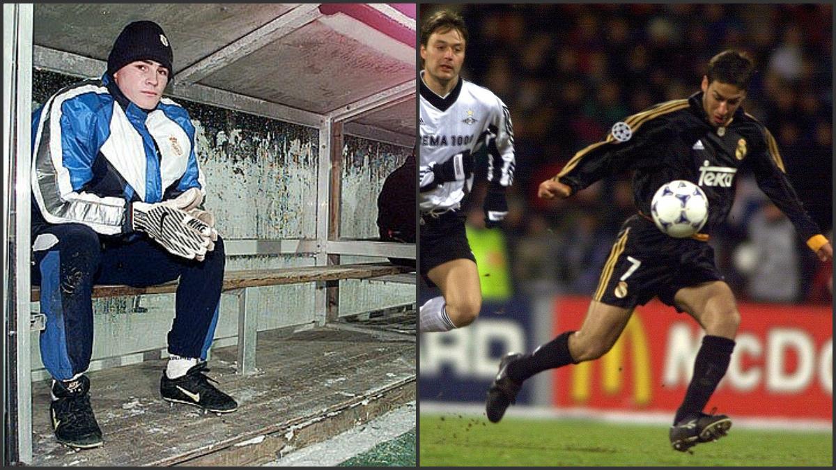 Iker Casillas en su primer viaje con el Real Madrid y Raúl antes de marcar un gol salvador.
