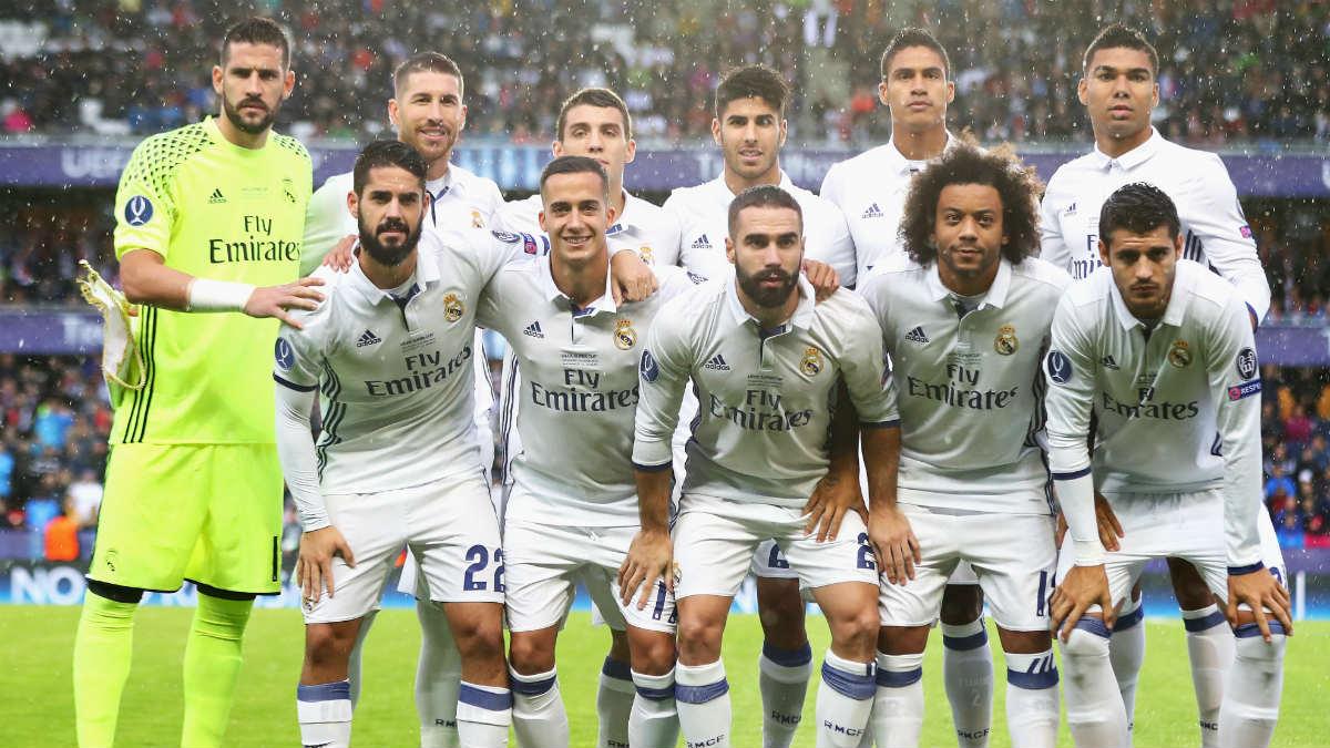 Alineación del Real Madrid contra el Sevilla. (Getty)