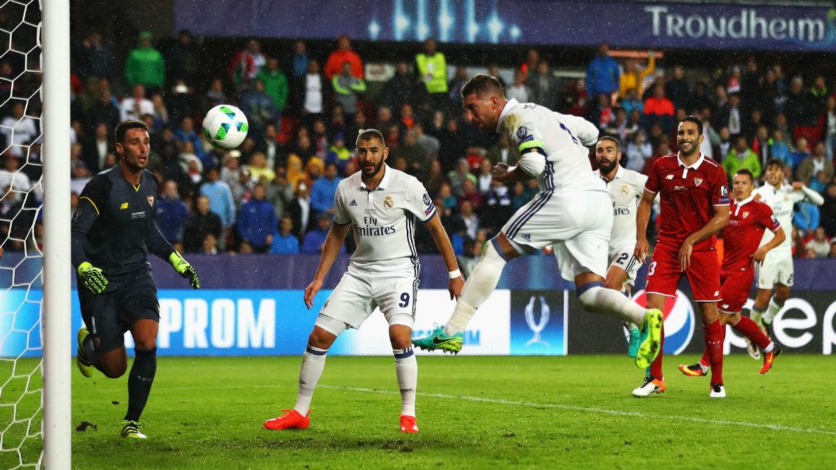 Sergio Ramos anotó el 2-2 en el minuto 93 de la Supercopa. (Getty)