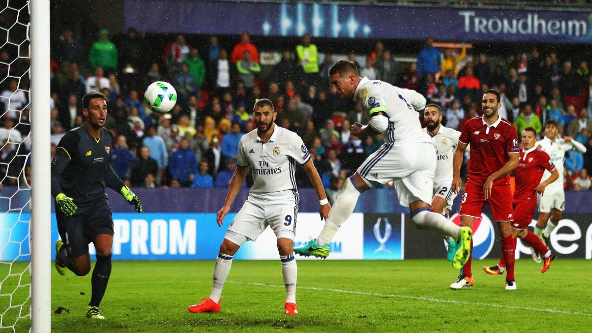 Sergio Ramos marca el 2-2 en el minuto 92. (Getty)