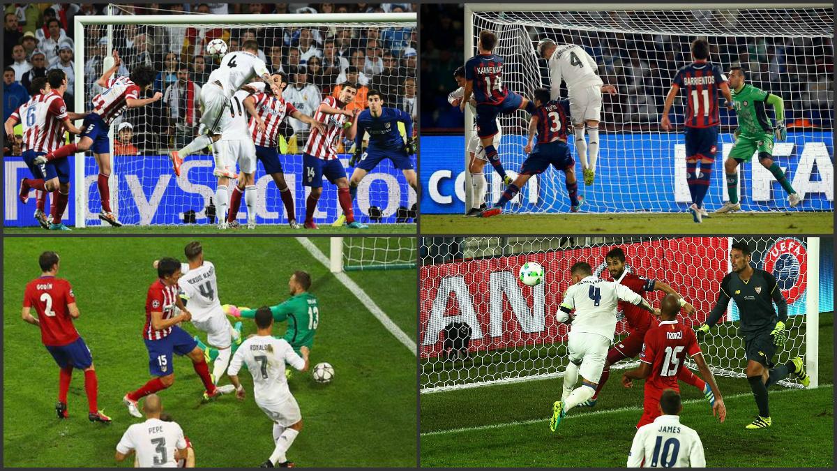 Los cuatro goles de Ramos en Lisboa, Marrakech, Milán y Trondheim.