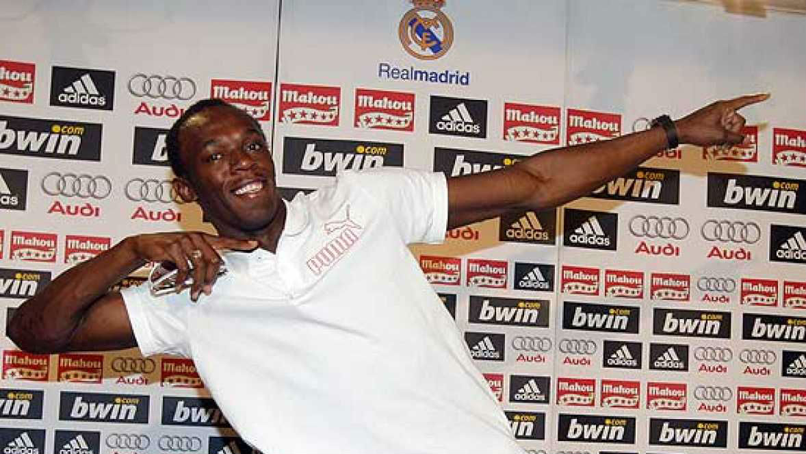 Usain Bolt, en la sala de prensa del Santiago Bernabéu.