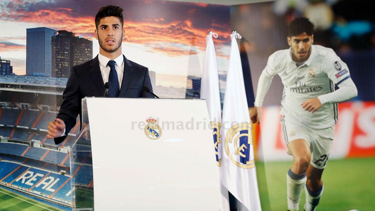 Marco Asensio, en su presentación. (Imagen: Realmadrid.com)