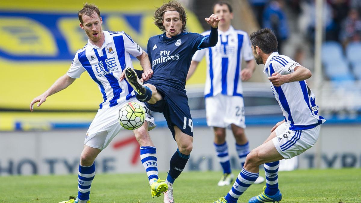 Modric, en un partido contra la Real Sociedad. Getty