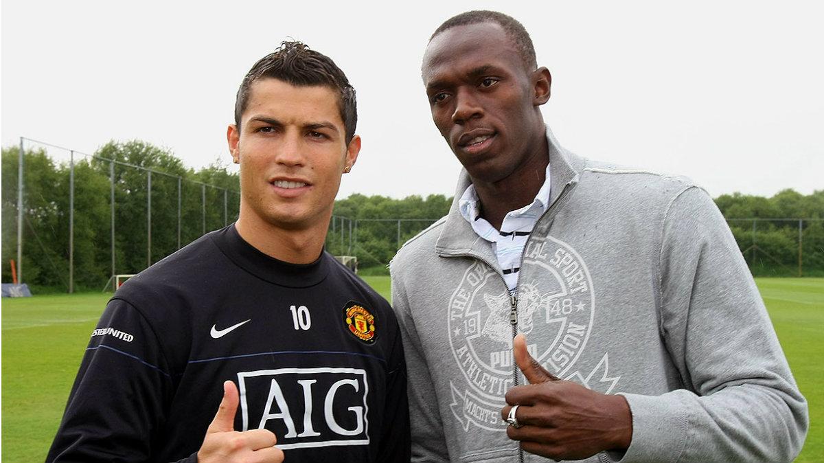 Cristiano Ronaldo y Bolt, juntos en 2009.