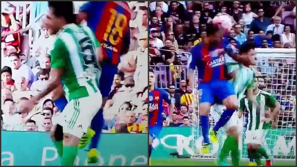 El árbitro perdonó la expulsion a Jordi Alba.