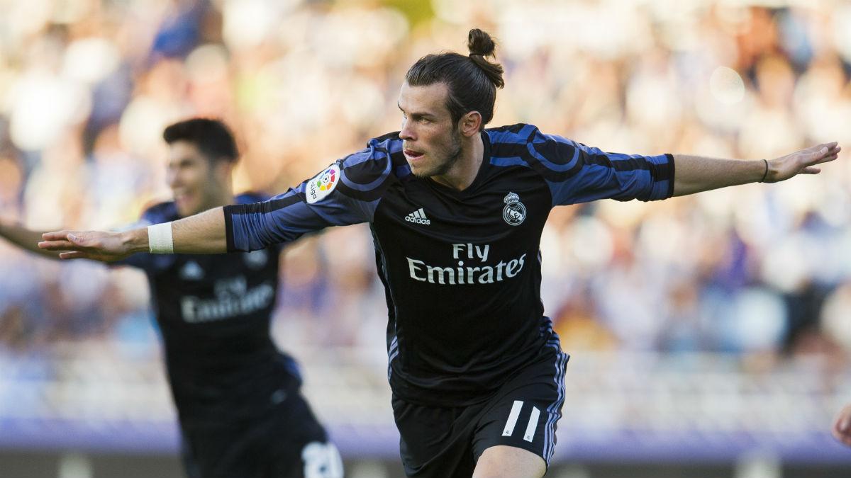 Bale celebra el primer gol en Anoeta. (Getty)