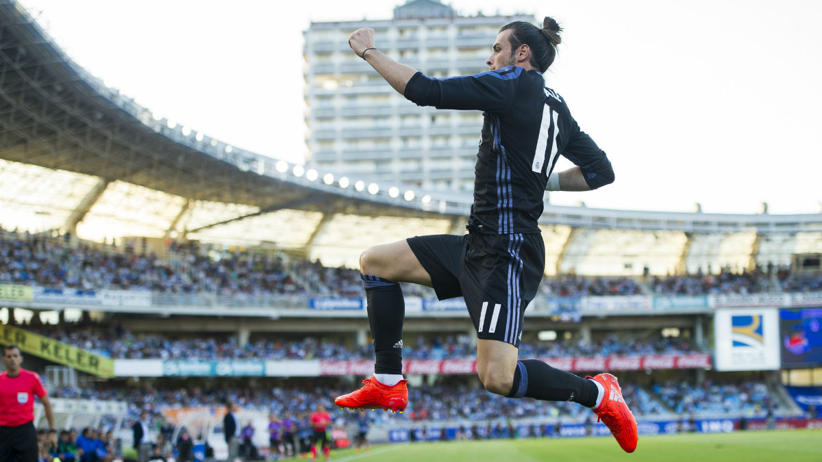 Bale celebra e 0-1 del Real Madrid en Anoeta. (Getty)