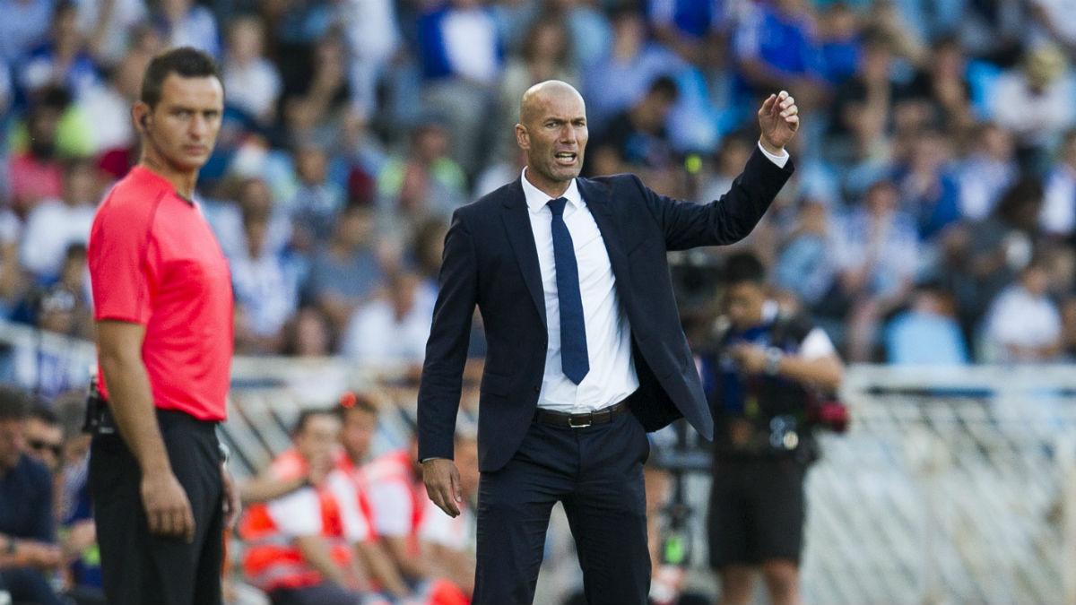 Zidane, durante el partido contra la Real Sociedad. (Getty)