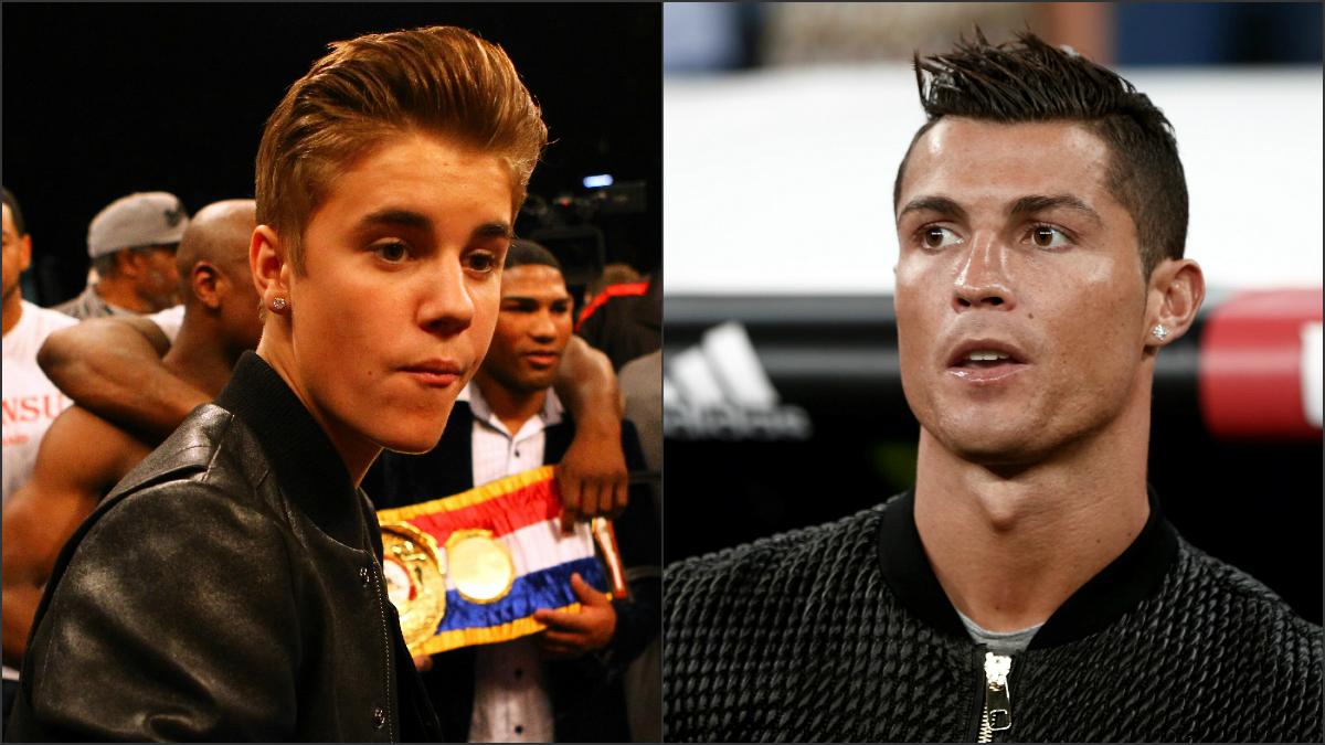 Cristiano Ronaldo y Justin Bieber. (Getty)