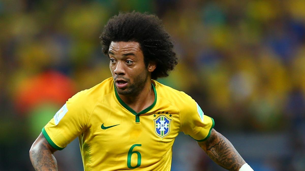 Marcelo, en un partido con Brasil. (Getty)