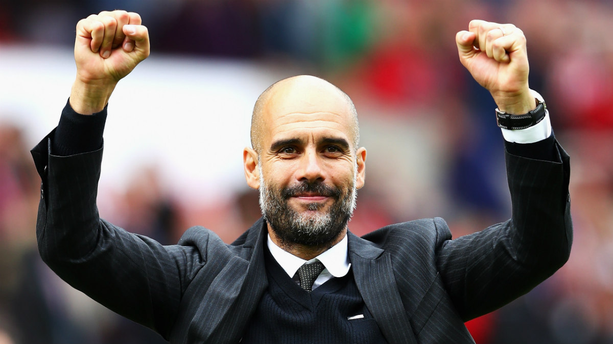 Guardiola celebra una victoria con el City. (Getty)