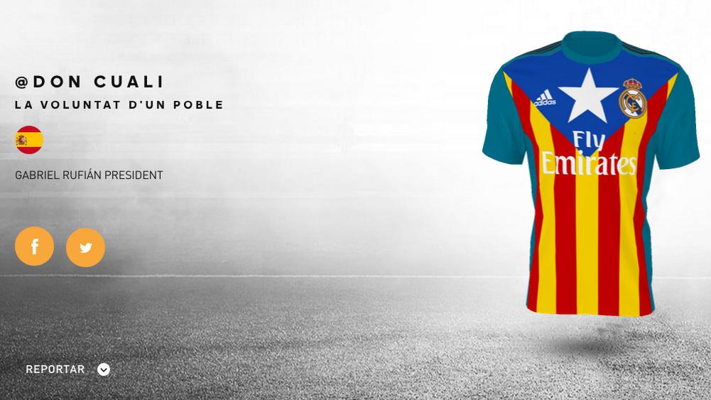 La camiseta con la que los independentistas quieren manchar al Real Madrid.