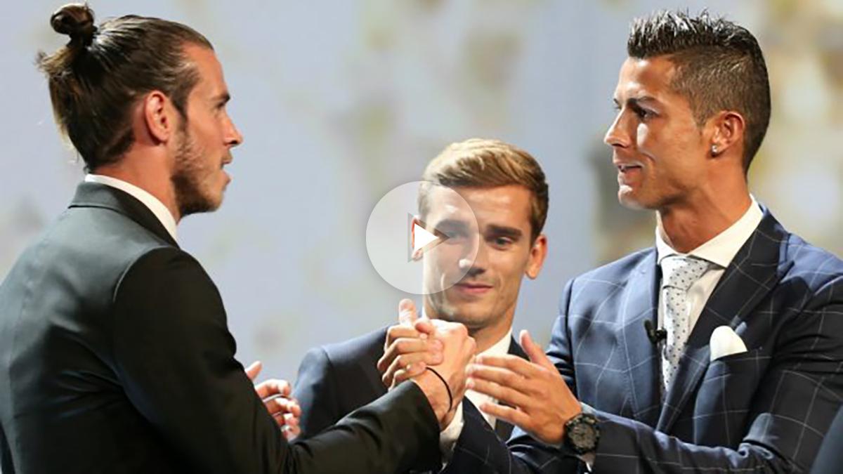 Bale felicita a Ronaldo por su premio de mejor jugador de Europa. (Reuters)