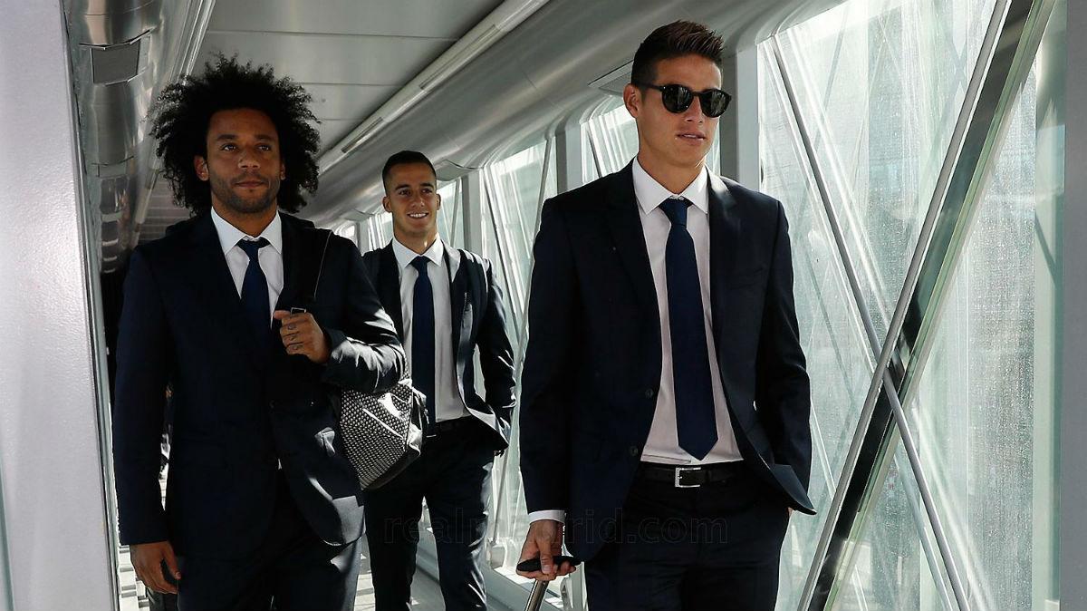 James Rodríguez y Marcelo, en un viaje con el Real Madrid. (Imagen:realmadrid.com)